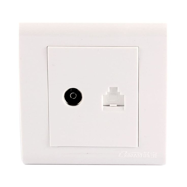 RJ45 PC Network Cable Port TV Aerial Female Socket Wall Mount Plate White