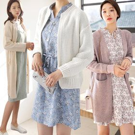 Gmarket - tntree Knee length cardigan / loose fit / cable knit...