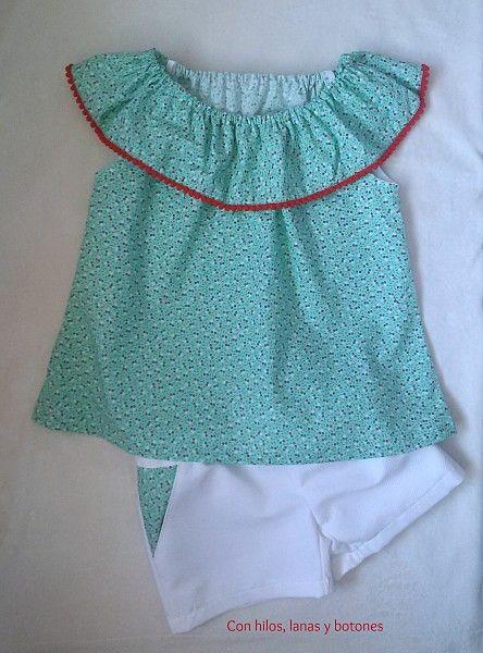 58c601479 Con hilos, lanas y botones: conjunto de blusa y pantalón corto para niña