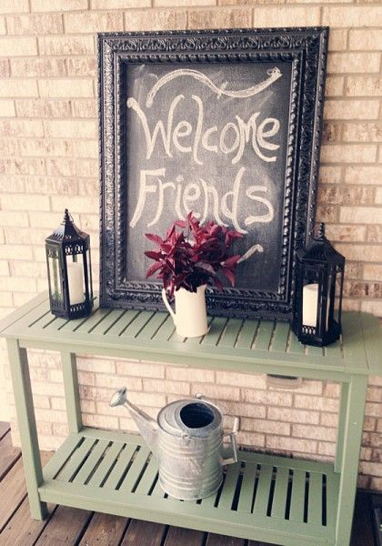 Decorating My Front Porch by Shopping My Back Patio | House to Your Home...smaller scale, but cute!