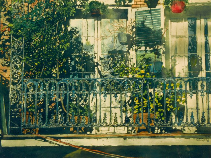 "balcony catching the sun new orleans 22"" x 30""  micheal zarowsky - watercolour on arches paper private collection"