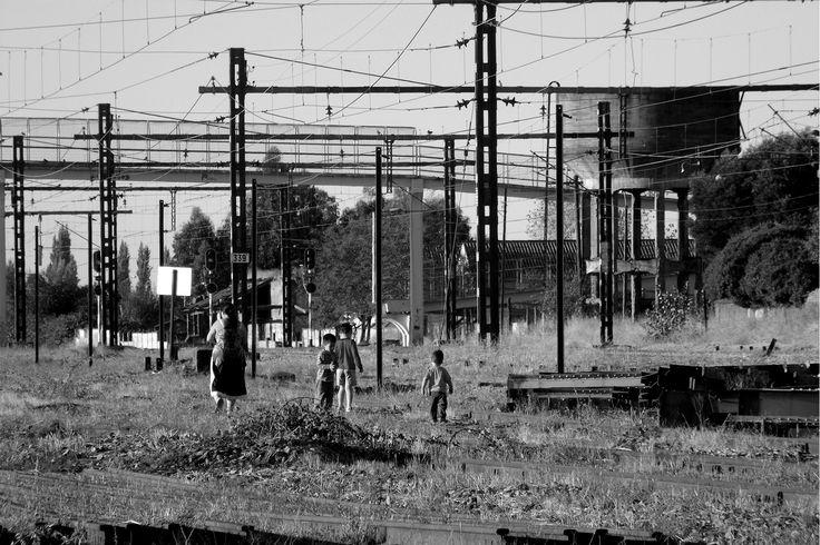 MADRE E HIJOS.  Cruce informal, Estación de Ferrocarriles Parral.