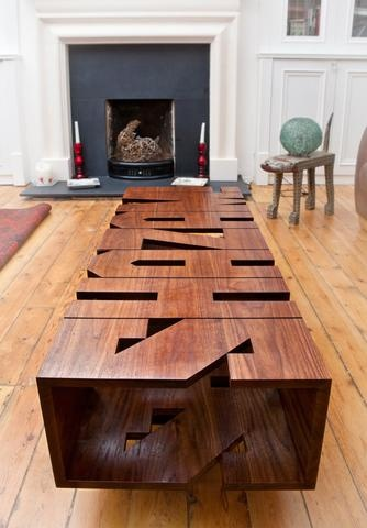 Interior. Awesome Coffee Table From Evil Robot Design: Modern Fireplace And Amazing Coffee Table ~ Slim 69 ~ S H A Z A M !: Modern Fireplaces, Coffee Tables, Wood Letters, Interiors Design, Memorial Tables, Wooden Letters, Robots Design, Small Houses, Evil Robots
