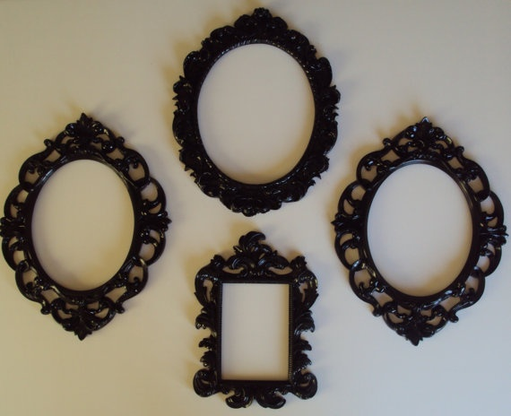 4 Picture Frames Ornate Shabby Paris Chic Black by heartsncrafts