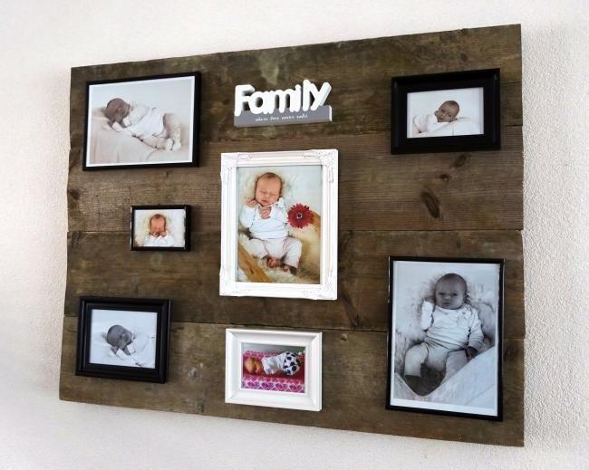 Steigerhouten wandbord met fotolijsten. Kijk ook eens op http://www.knutselforum.com.