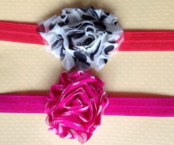 6-12 months Little Miss Pink and Red Headband Set by BooLouBaby