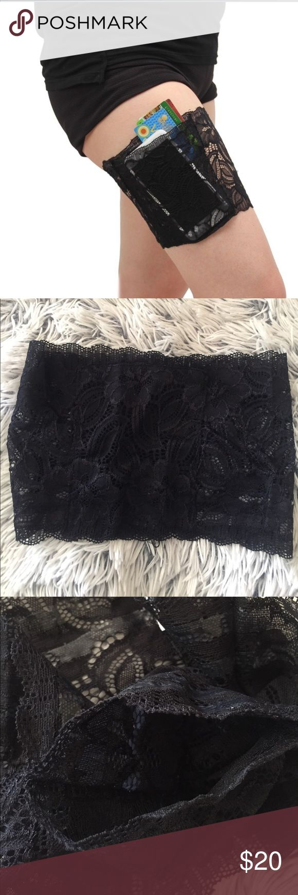 🎀Sale! 🎀 Sexy lace thigh band pocket! This band is perfect for when you want to go handsfree! Has 1 pocket that is about 5.5 inches deep and 4.5 inches wide! Is very comfortable to wear and user friendly and does not cause chafed skin. Has two rows of non-slip silicone! Hand wash only. Accessories