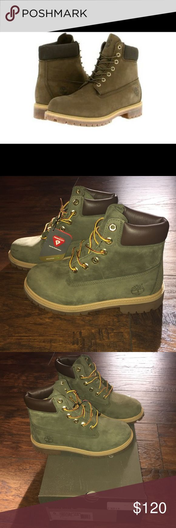 Brand New timberland boots! Suede and waterproof BRAND NEW TIMS! Comes with box (if you want). Forest green color. These are junior size 5 but fit a women's size 7 - 7.5 (I wear a size 7 and these fit perfectly)! I took off the square timberland attachable keychain thing to wear them but ended up not - as you can see from the last pic and bottom of the shoes. Love these boots just not my style! Timberland Shoes