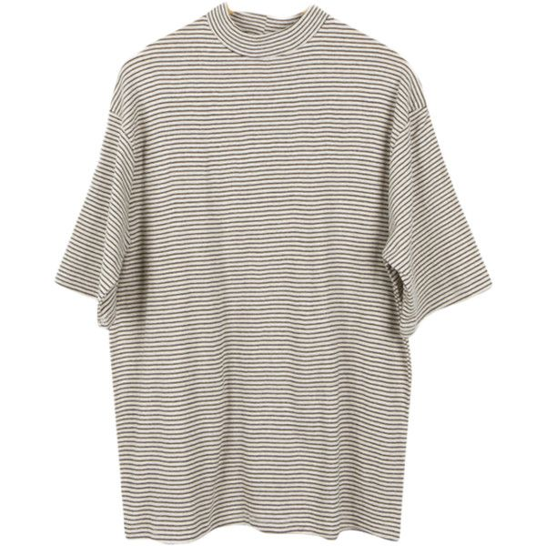 Striped High Neck Half Sleeve T-shirt ($29) ❤ liked on Polyvore featuring tops, t-shirts, shirts, tees, elbow sleeve tee, high neck t shirts, elbow length shirts, elbow sleeve shirt and shirts & tops