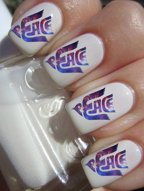 Galaxy Peace Nail Decals by PineGalaxy on Etsy, $4.50