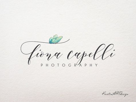 Butterfly logo Photography watermark by KristinARTdesign on Etsy