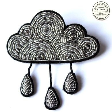 Hand embroidered silver cloud brooch with raindrops, inspired by military embroidery, by Macon & Lescuoy