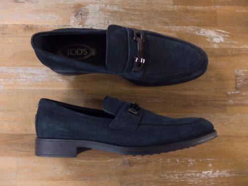 auth TOD'S Tods blue suede loafers shoes - Size 10.5 US / 10 UK / 44 EU
