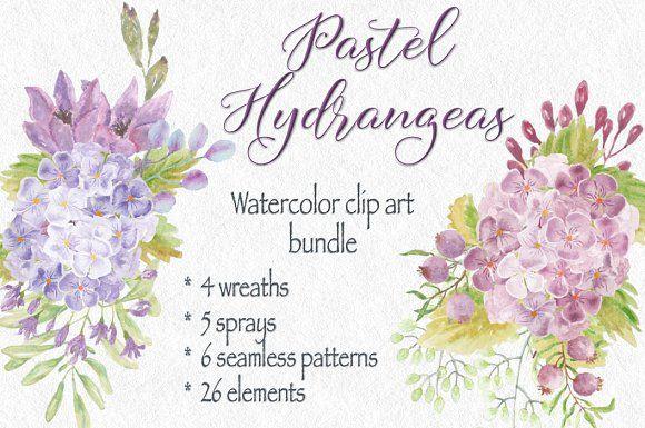 Clip art bundle: pastel Hydrangeas by Lolly's Lane Shoppe on @creativemarket