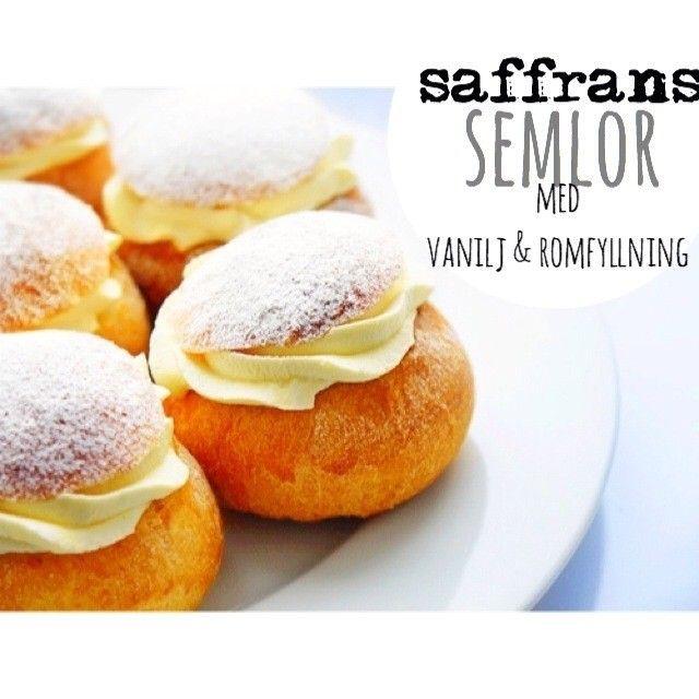 Saffranssemlor med vanilj & romfyllning
