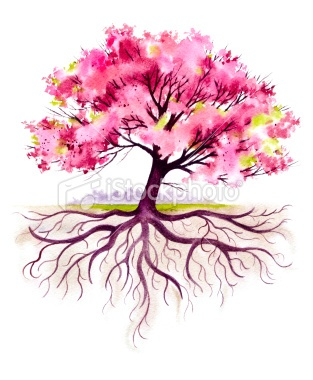 Cherry tree with roots. Would look beautiful with more colors and as a tattoo