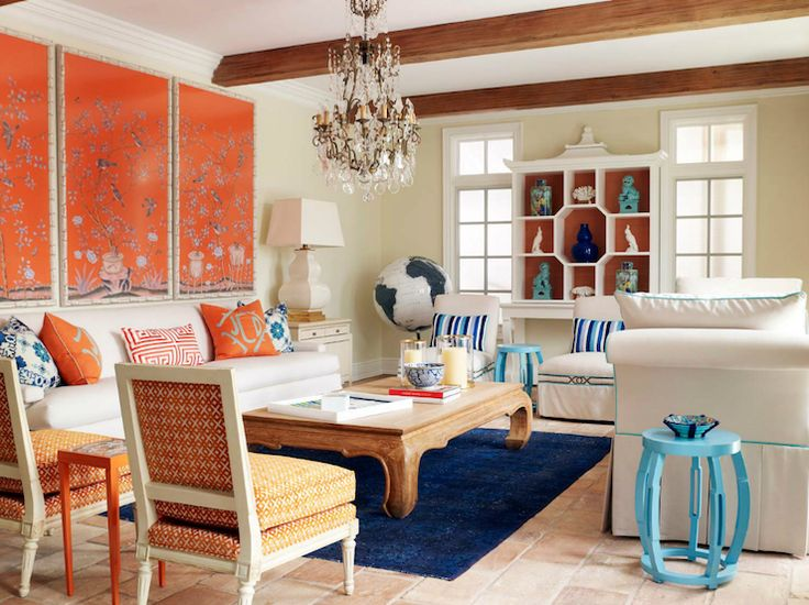 Laura Moss Photography Amazing Blue Orange Living Room With Art Panels White Slipcover Sofas