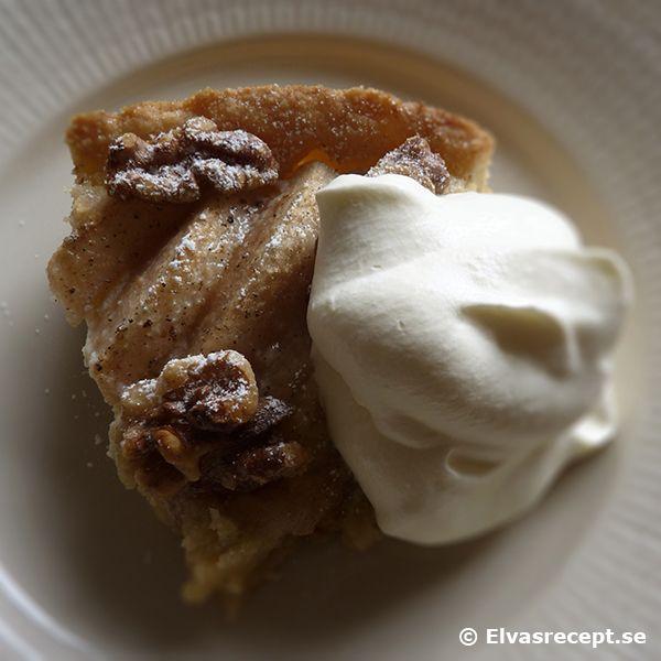 Recept på päronkaka - kaka med päron och valnötter