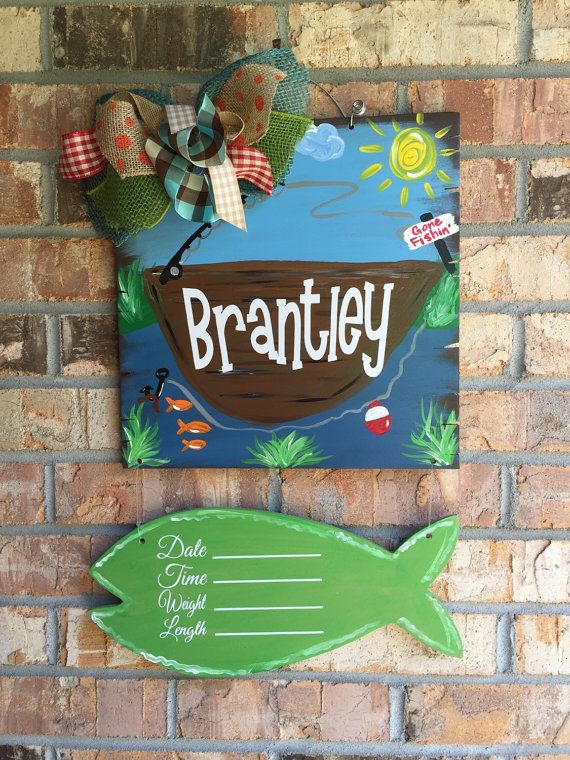 Fishing Wood Baby Door Hanger for Hospital by craftigirlcreations