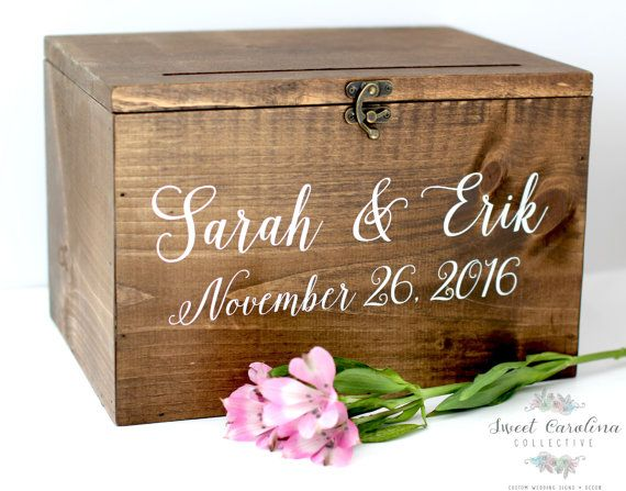 Wood Wedding Card Box with Lid  Wedding Money by SweetNCCollective