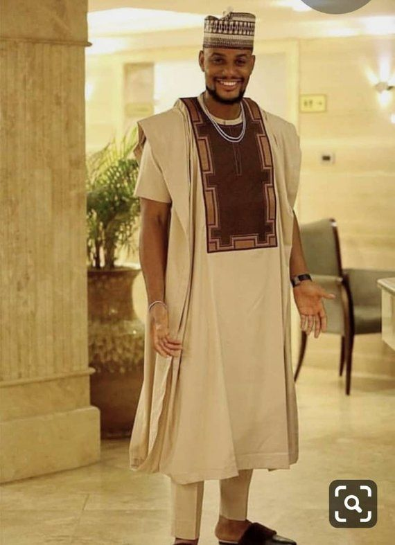 Light Brown African Men's Clothing, Men's Dashiki shirt, African wedding suit, African prom outfit,