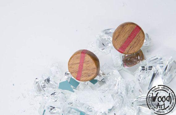 Natural Wood Earrings / Red Stud Earrings / Red by TheWoodArtShop