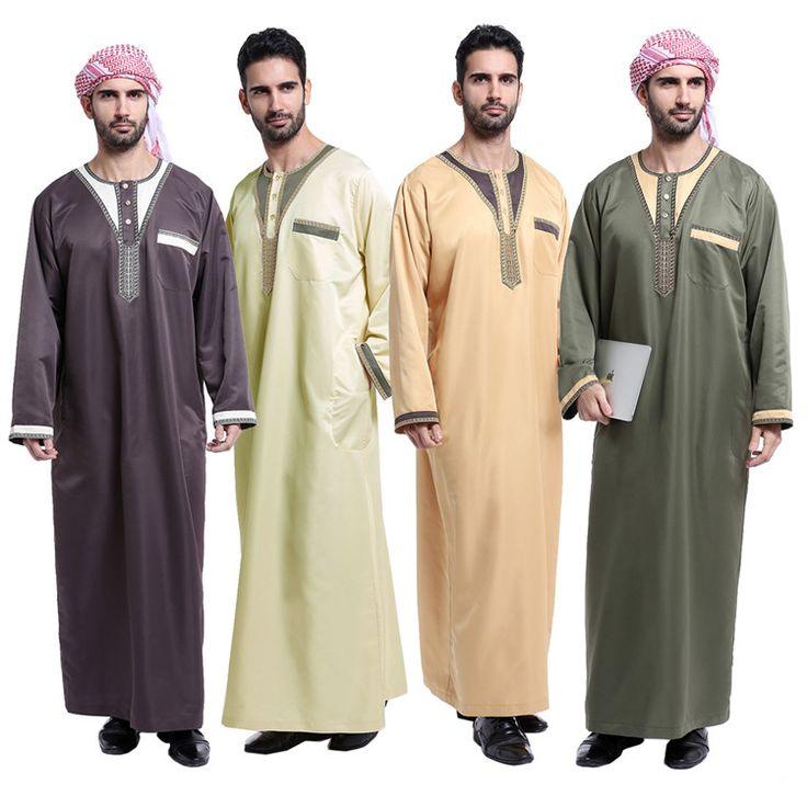Loriya Fashion Mens Thoub Abaya Robe Daffah Dishdasha Islamic Arabian Kaftan Men Saudi Style Thobe