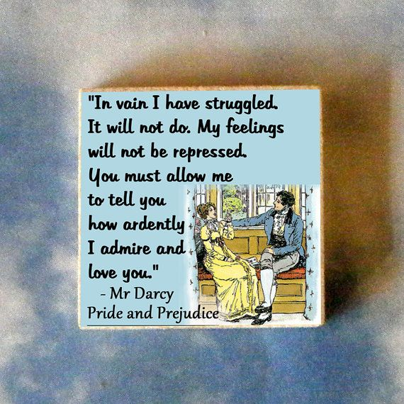 Pride and Prejudice quote Tie Tack or Pin by QuotedArt on Etsy, $8.00