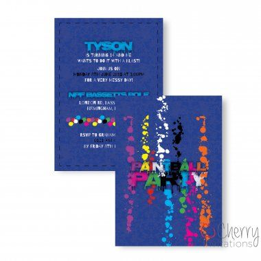 Fun Paintball Themed Double Sided Personalised Birthday Invitations - From as little as £0.41 per card - Including free envelopes and delivery on all orders!