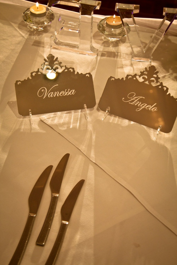 Stylish mirrored acrylic name place cards from @Felicitations Subiaco www.felicitations.com.au
