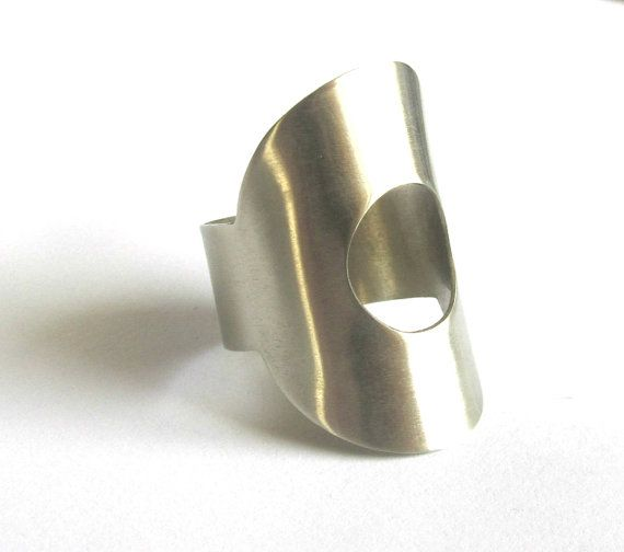 Cut Out Silver Ring Handcrafted Geometric Wide Band Hand