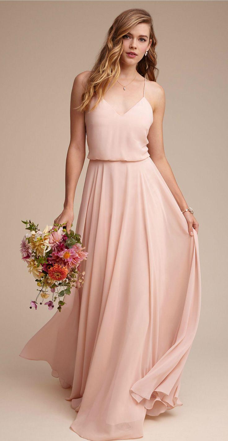 Blush pink chiffon bridesmaid dresses | Inesse dress from BHLDN