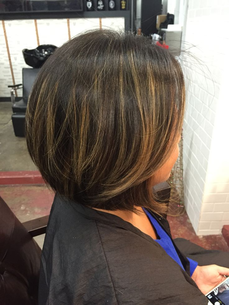 Classic bob with honey balayage highlights done by Sam Shepard