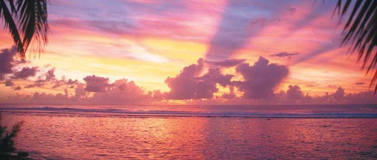Zonsondergang op Aitutaki, Cook Eilanden
