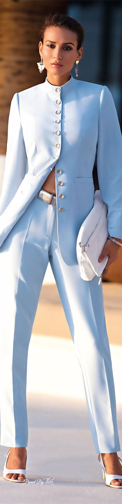 Madeleine ~ Sky Blue Front Button Tunic w Skinny Trousers