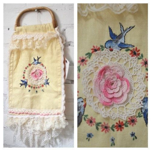 Vintage Bluebird Butter yellow Tote bamboo by BlackRainCouture