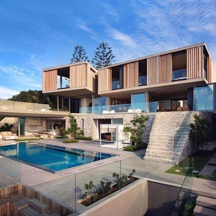 Flat house of glas and wood with pool