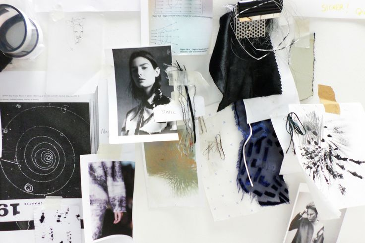 Fashion Moodboard - Forces of Attraction theme development, research  fabric ideas; fashion design process // Louise Nutt