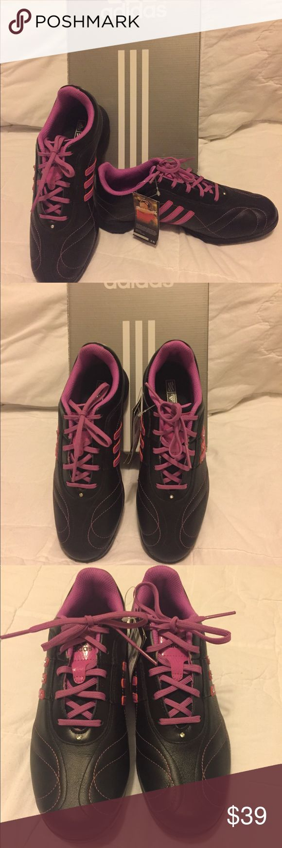 Women's Adidas Signature Natalie 2 Golf Shoes NWT New stylish Adidas women's golf shoes in black and hibiscus pink with a touch of bling.  Waterproof and developed in collaboration with LPGA Tour Professional Natalie Gulbis. Size 7 1/2. Smoke free home. adidas Shoes Athletic Shoes