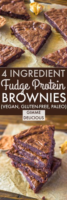 4 Ingredient Fudge Protein Brownies (Vegan, Gluten-free, Paleo) | Gimme…