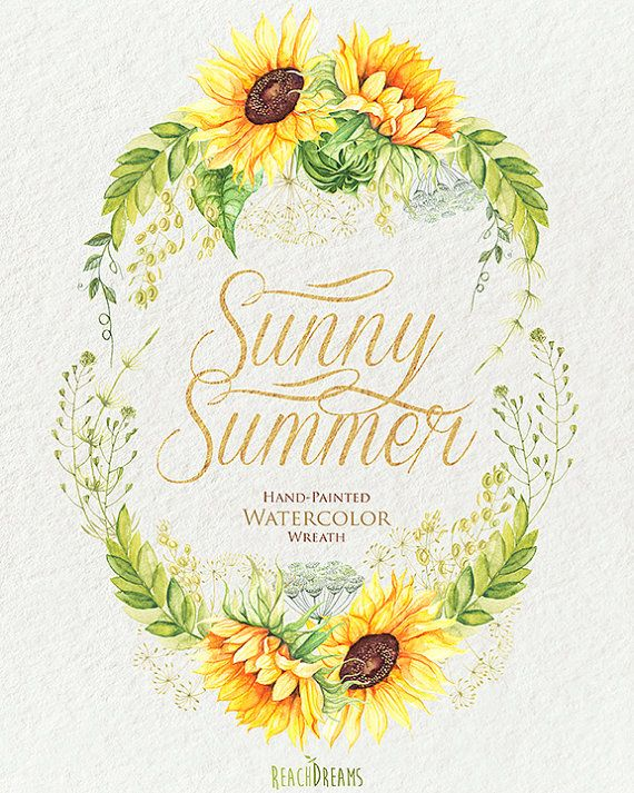 Watercolor Wreath Sunflower with Wild Herbs. от ReachDreams