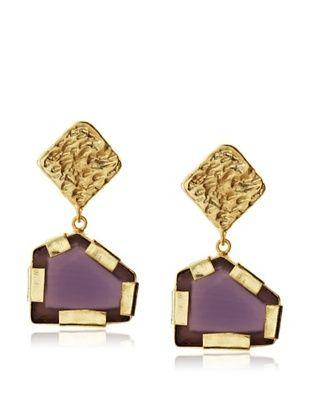 65% OFF Saachi Purple Glass Pentagon Drop Earrings