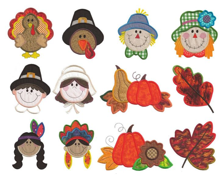 Thanksgiving Applique Machine Embroidery Designs | Designs by JuJu