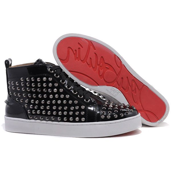 Christian Louboutin Louis Spikes High Top Patent Leather Sneakers Flat  Patent Leather Black