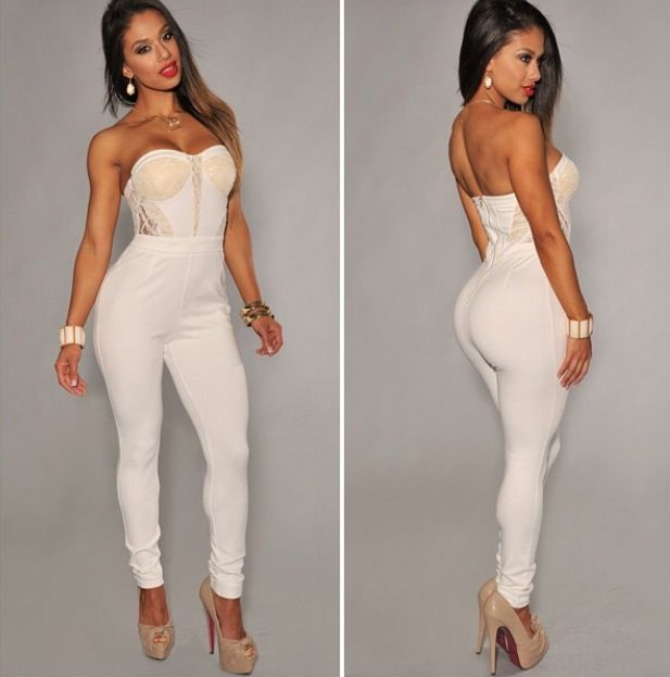 Cute white jumpsuit ❤ | Fashionista | Pinterest | Jumpsuits and ...