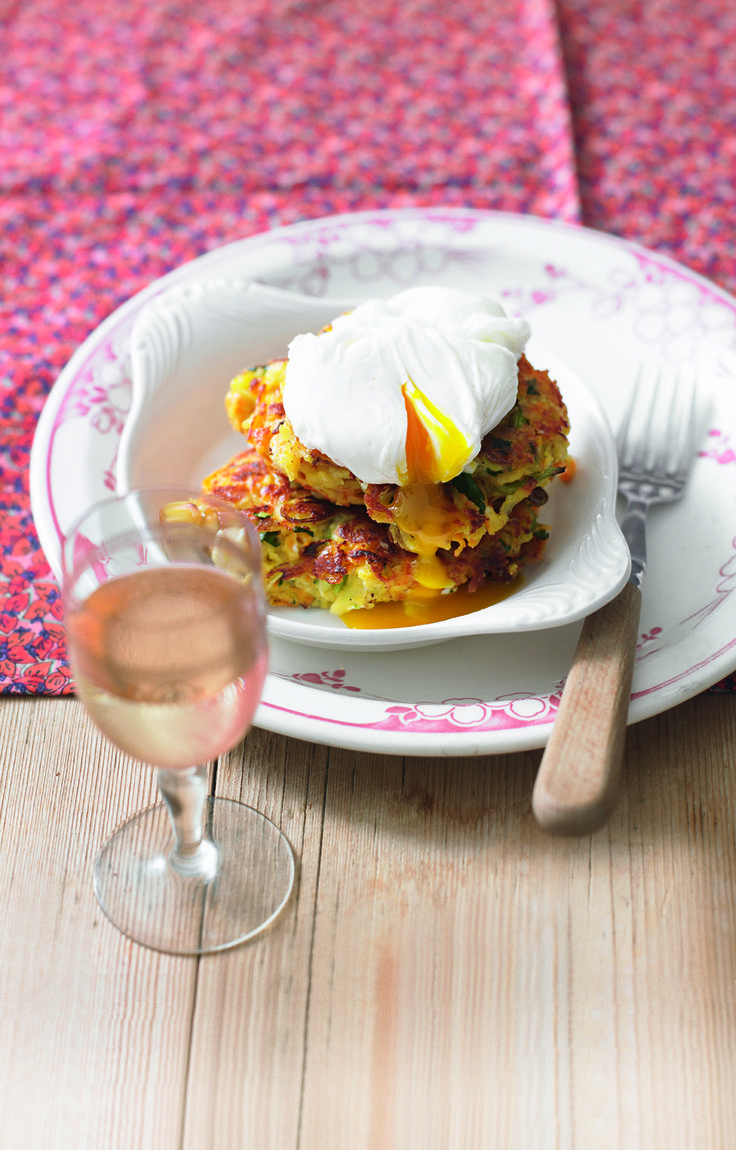 These crispy vegetable fritters belong with soft poached eggs. A marriage made in heaven and a cheap vegetarian dinner!