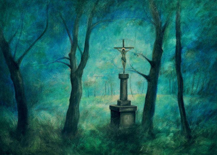 Landscape with Cross. Oil painting by Lenka Kurovská