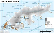 Map of King George Island in the Antarctic.  Includes the location of Base Artigas (Uruguay).