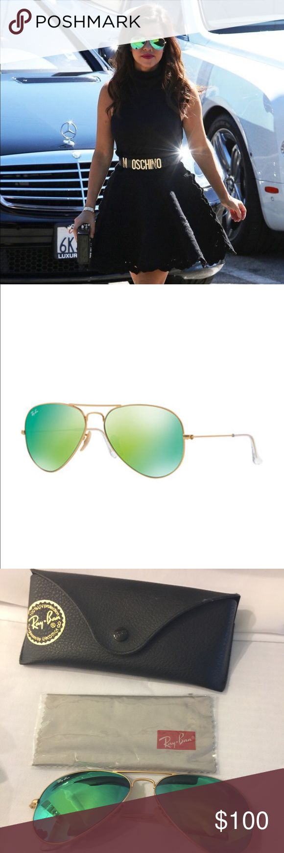 Authentic Ray ban Aviator metal mirror sunglasses Listing is for a authentic pair of green mirrored metal Aviator sunglasses made by Ray-Ban. Glasses authentic! Comes with original case and cleaning cloth. Like new condition. No trades💙price firm💙 Ray-Ban Accessories Sunglasses