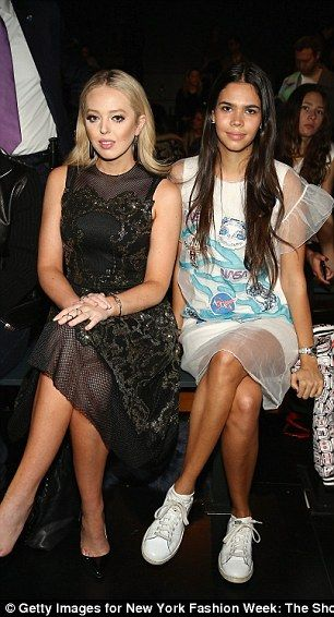 Tiffany Trump, pictured left, was sitting beside her Rich Kid of Instagram friend Reya Benitez, right, at the Vivienne Tam Runway show during New York Fashion Week at Gallery 1
